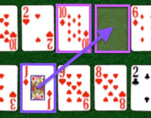 Move cards to gaps by matching the card to the left
